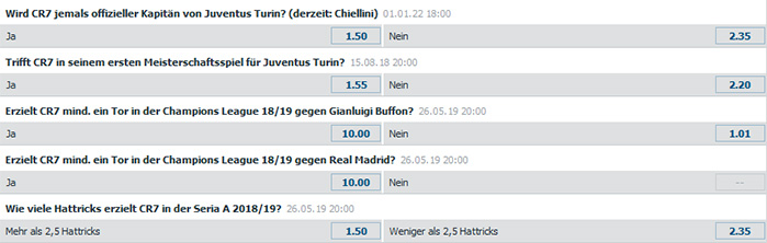Cristiano Ronaldo Spezialwetten Bet-at-Home